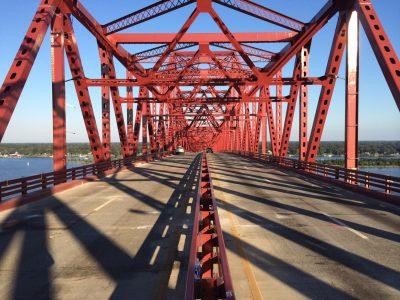 Looking down the Mathews Bridge.