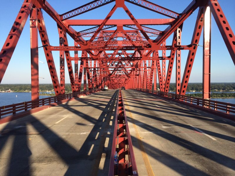 Looking down the Mathews Bridge.