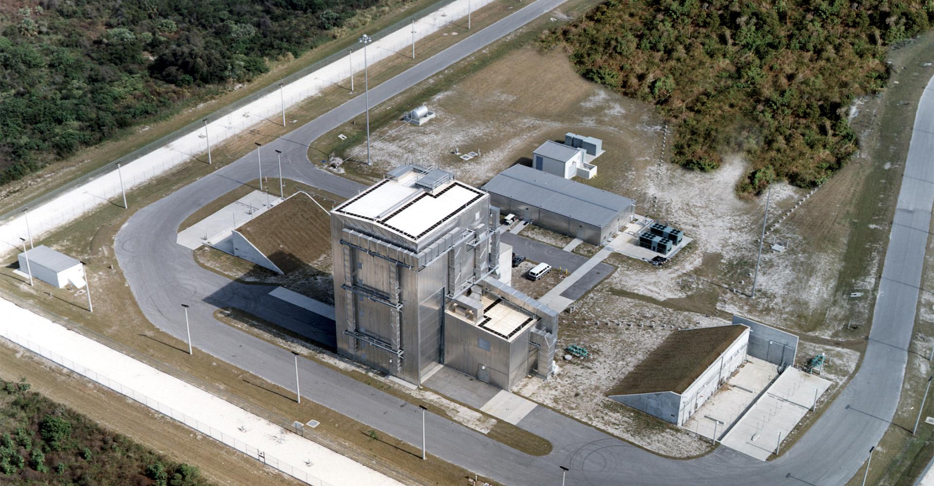 Aerospace manufacturing building exterior.