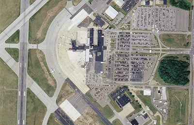 Aerial photo of Akron Airfield deicing area.