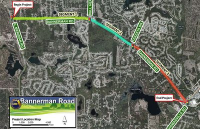 Map of Bannerman Road Corridor Study.