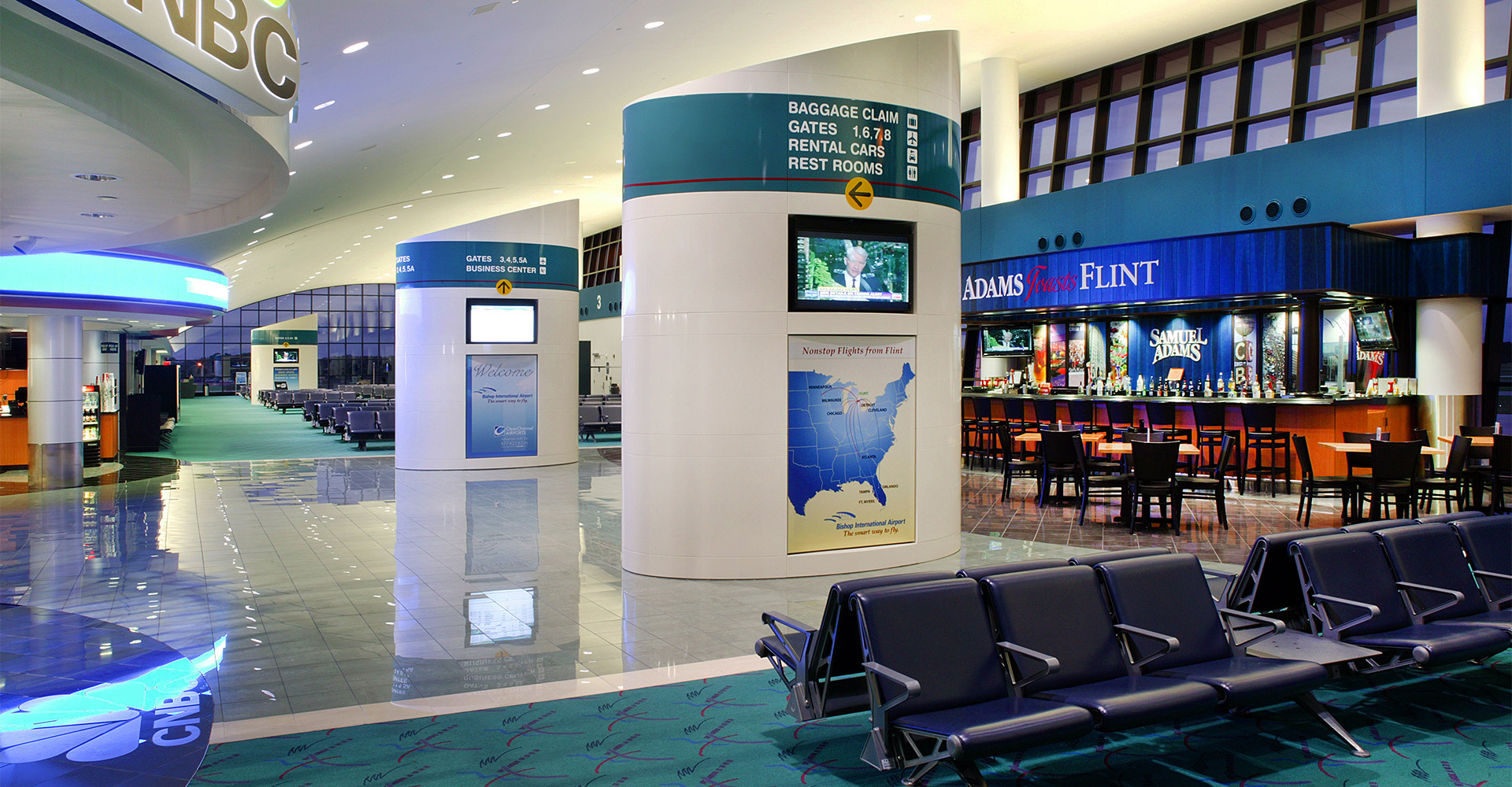 Interior of Bishop International Airport.