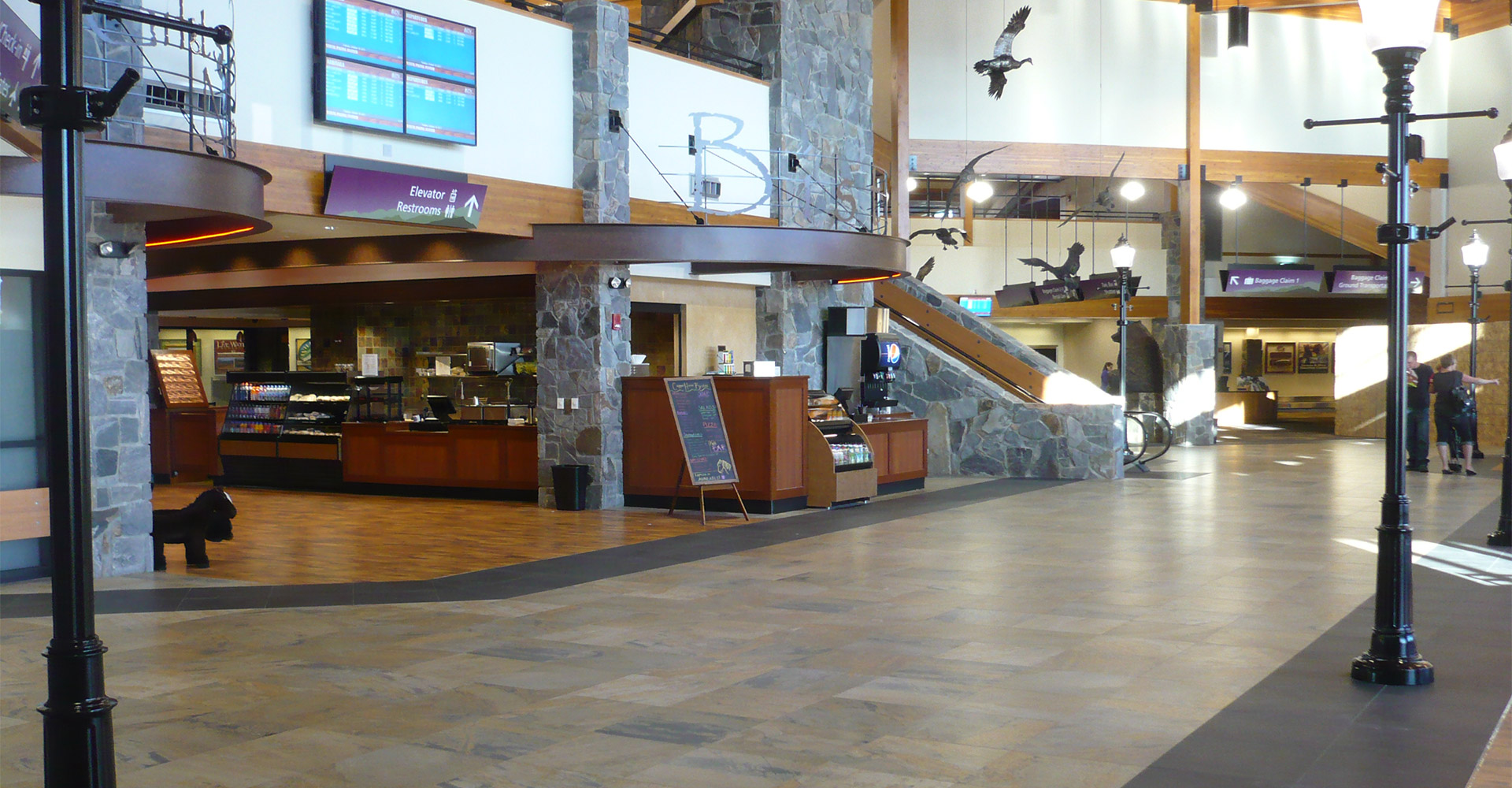 Interior of Bozeman Yellowstone Airport.