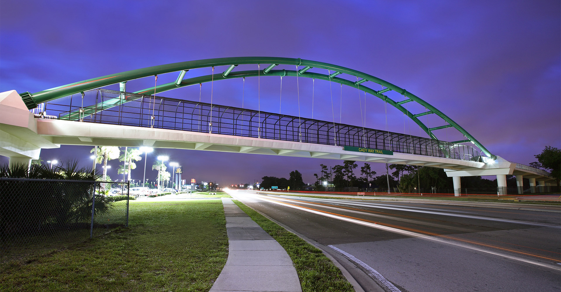 View of the Cady Way Trail and Pedestrian Bridge at dusk.