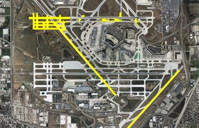 Aerial of Chicago O'Hare Airport.