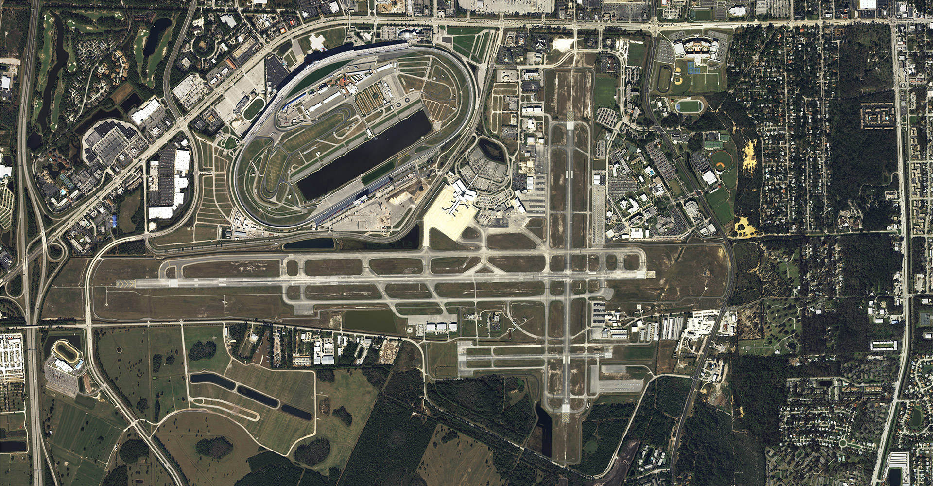 Aerial view of Daytona Beach International Airport.