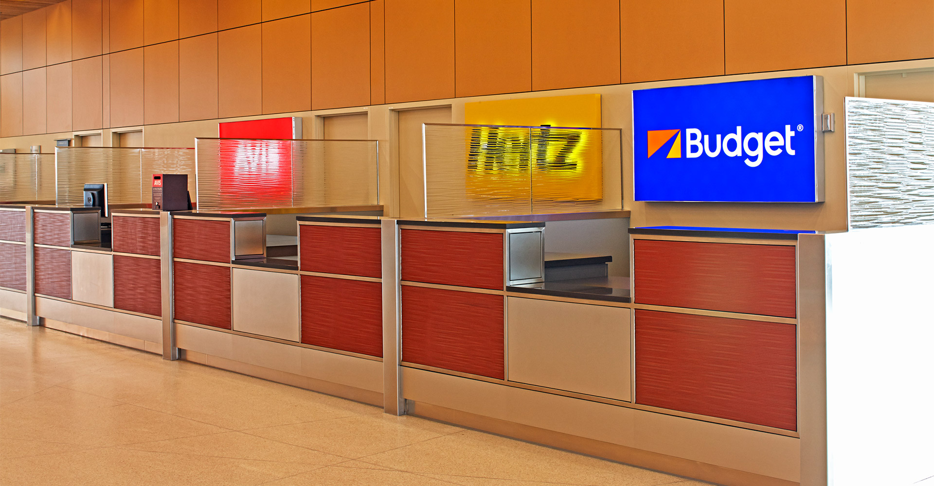Car rental counter at Duluth International Airport.
