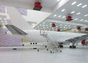 Interior of FSCJ aircraft service hangar.