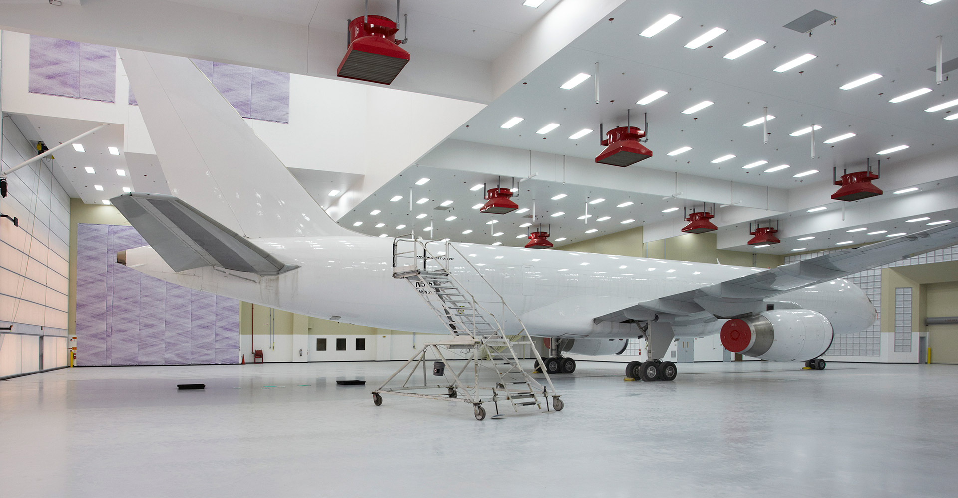 Interior of FSCJ aircraft service hangar.