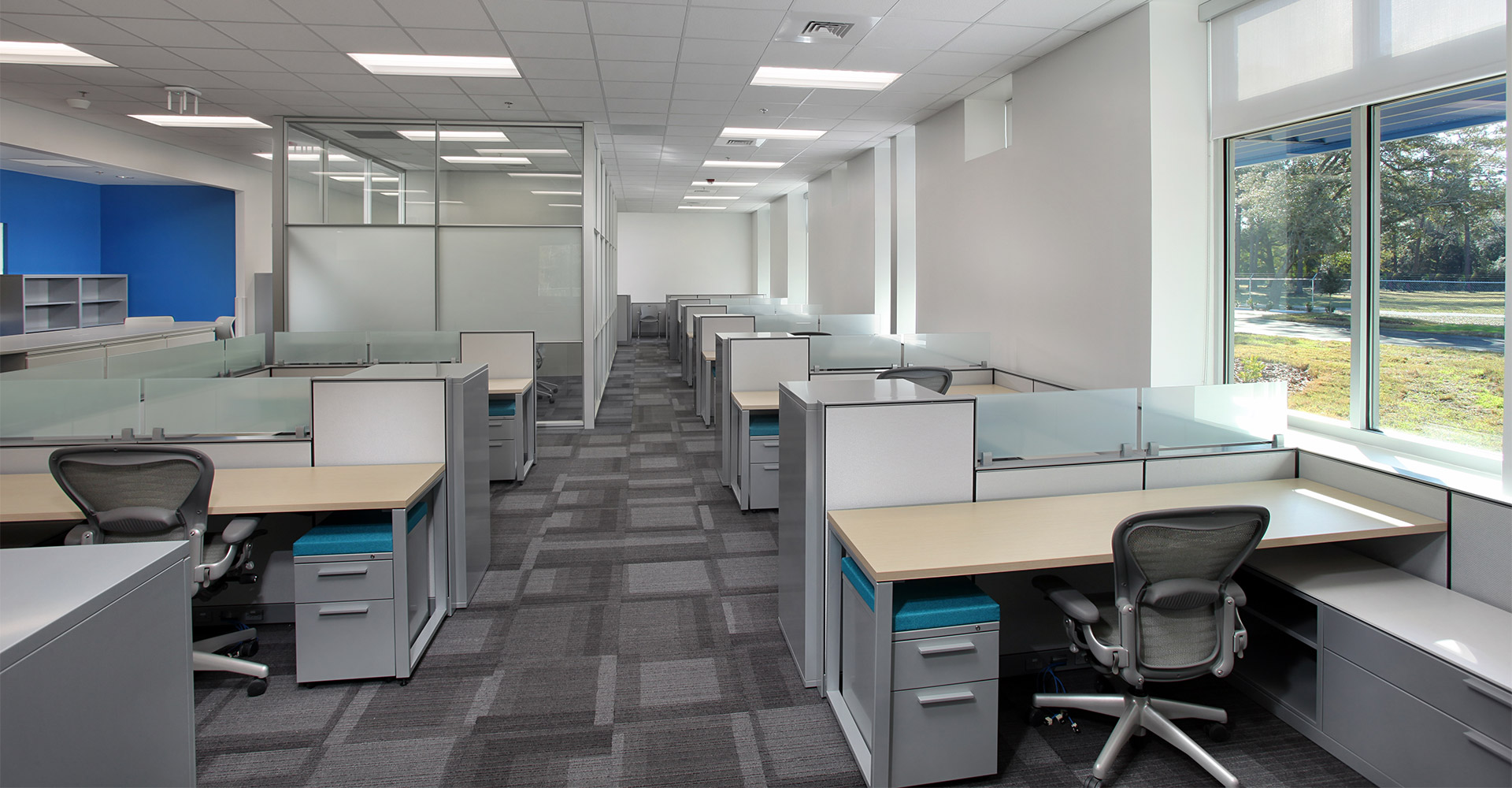 Cubicles in chemical lab.