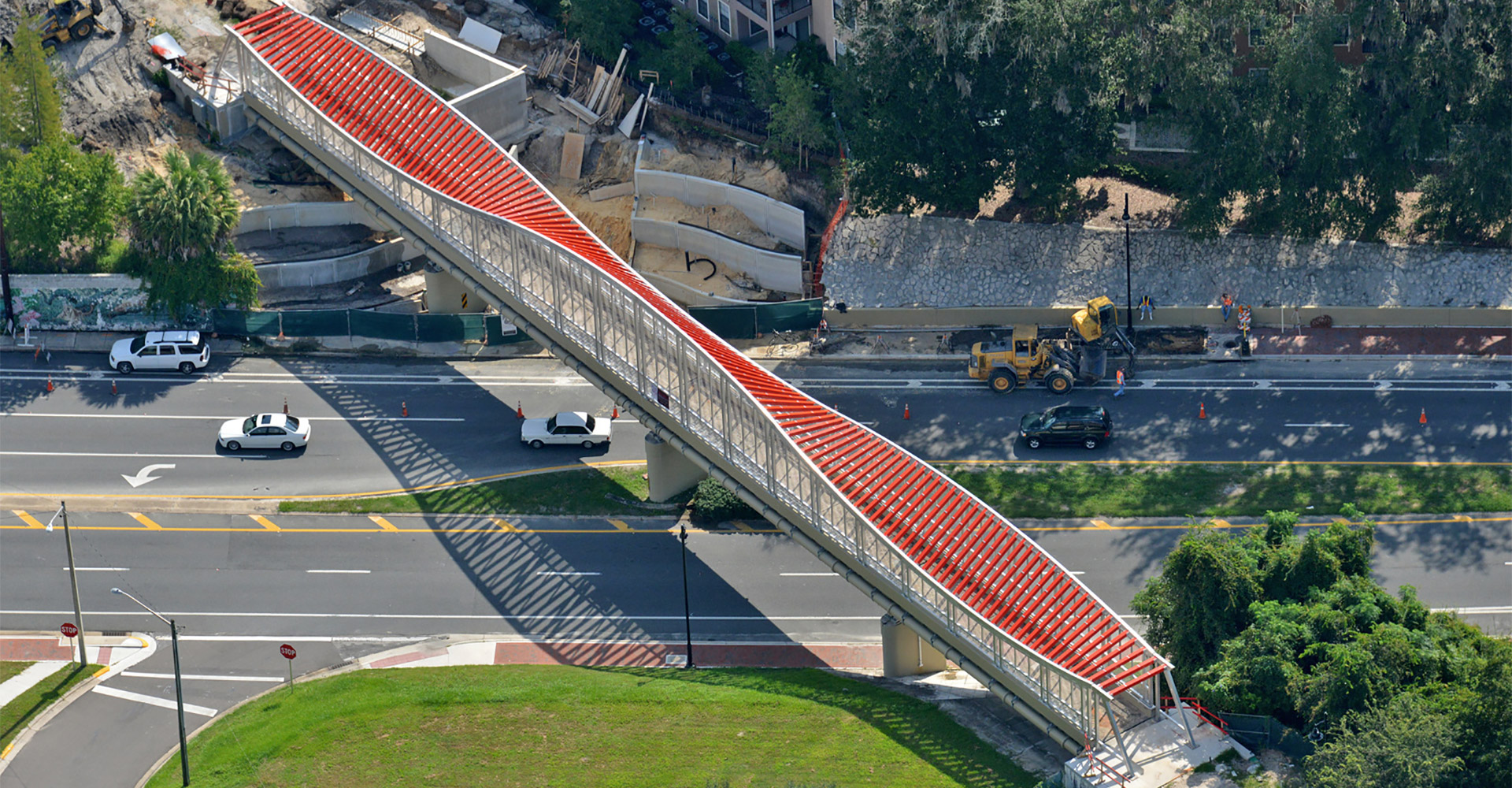 Aerial photo of Depot Avenue Trail Pedestrian Bridge.
