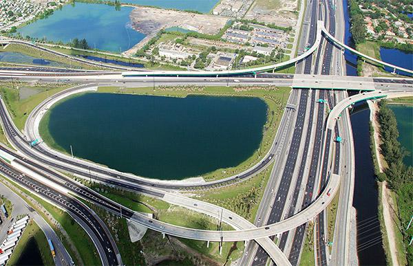 Aerial view of I-595 corridor