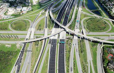 Aerial of I-595 corridor improvements.