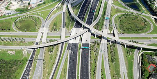 Aerial of I-595 corridor improvements.