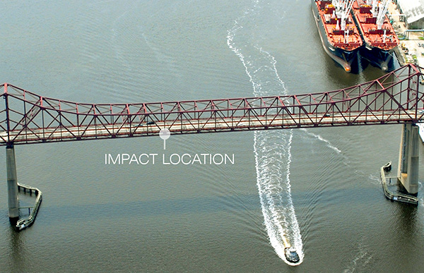 Impact location on Mathews Bridge.