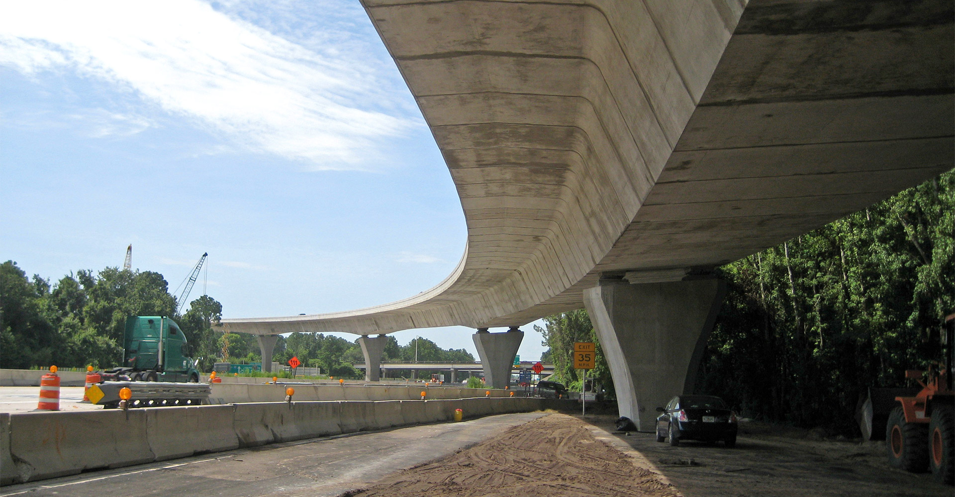 Construction on I-295 - I-95 - SR9A North Interchange.