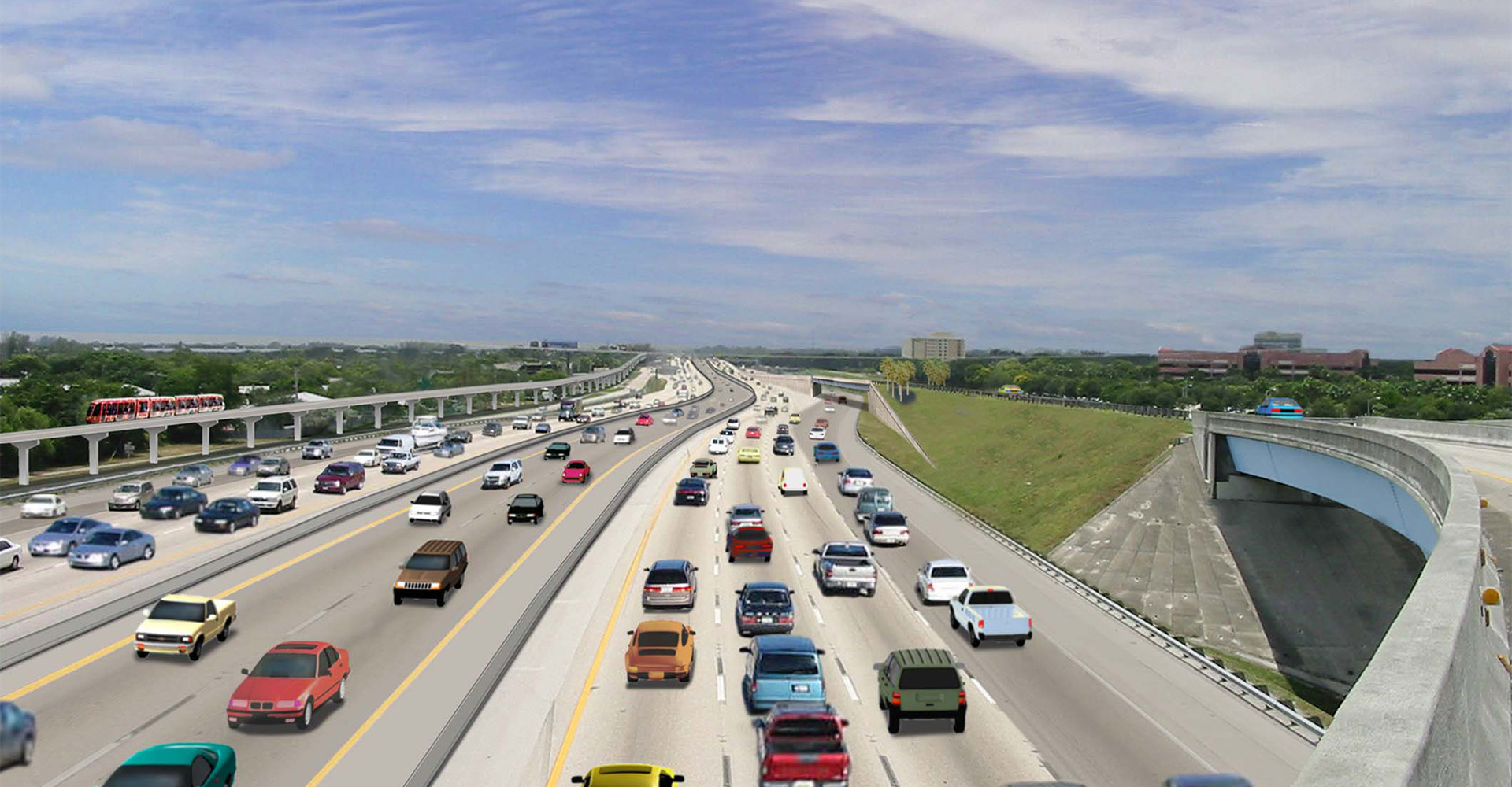 Visualization of I-595 with cars.
