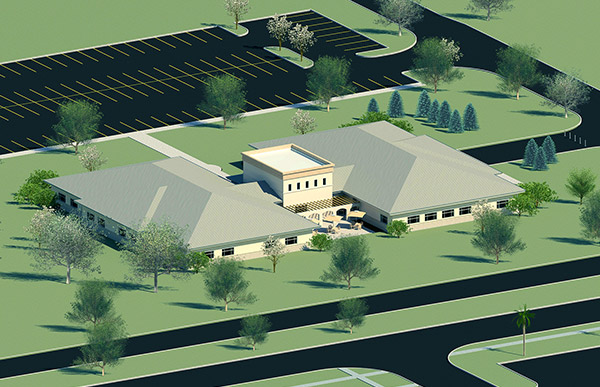 Aerial rendering of MWR Academy.