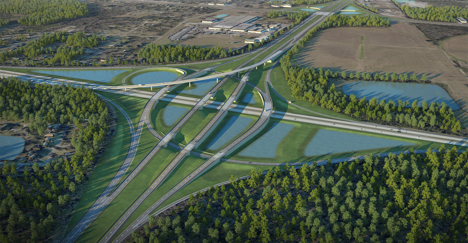 Aerial visualization view of I-95 to I-295 North Interchange.