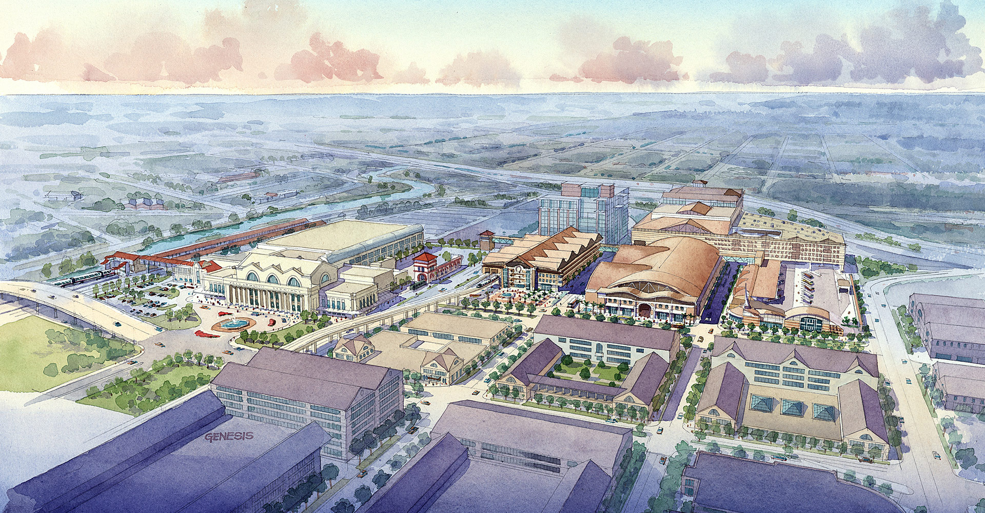 Aerial rendering of city.
