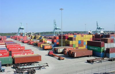 Jaxport ship yards with freight containers.