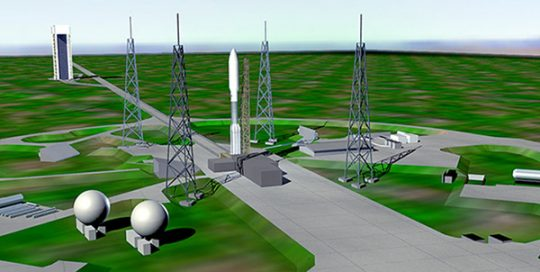 Aerial visualization of space launch facility at Cape Canaveral.