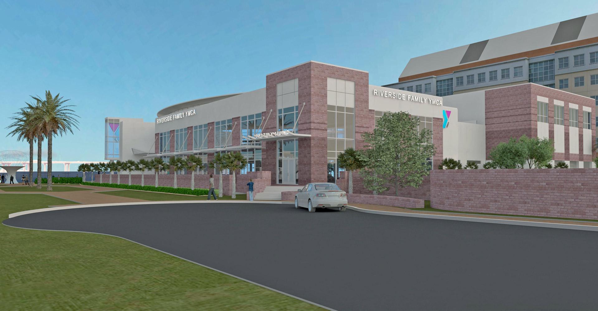 Riverside YMCA rendering exterior closeup of entrance.