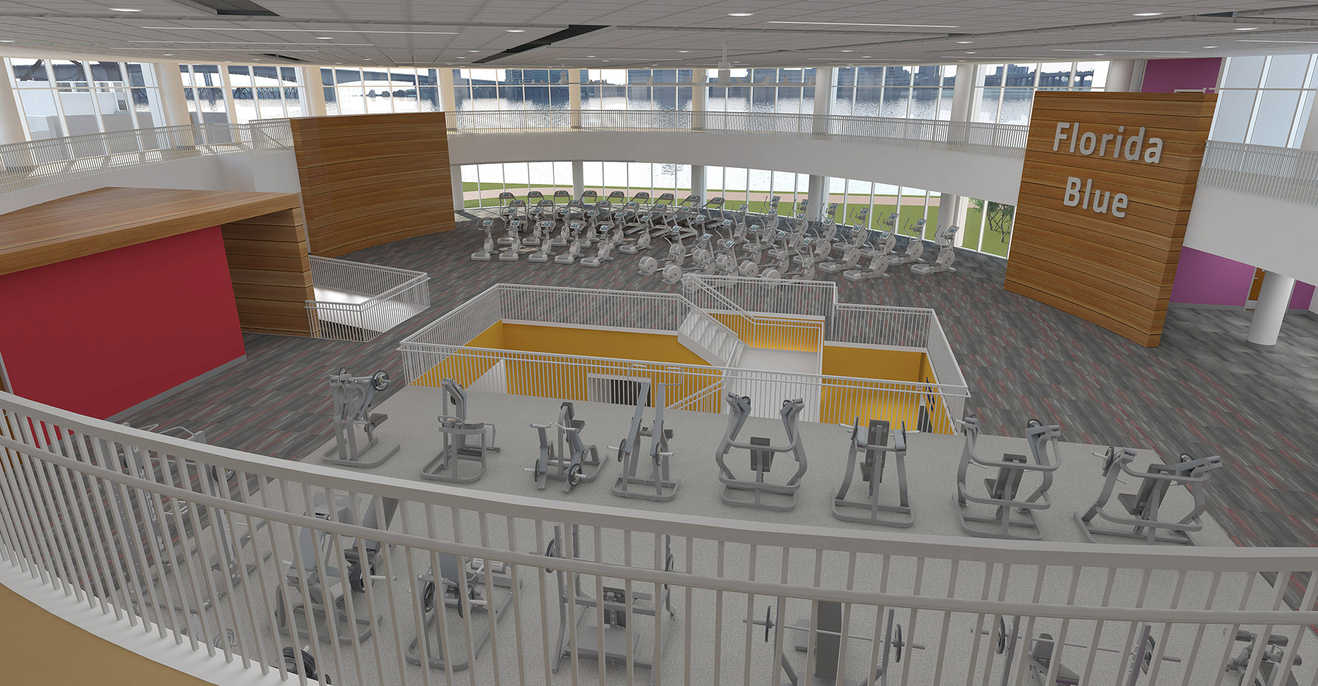 Riverside YMCA rendering interior looking below from balcony.