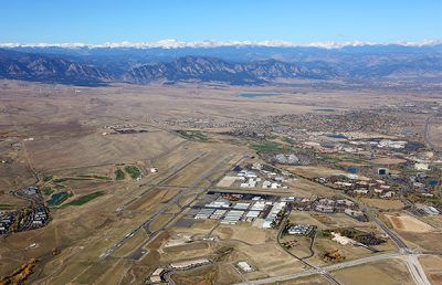 Rocky Mountain Metro Airport aerial with mountains.