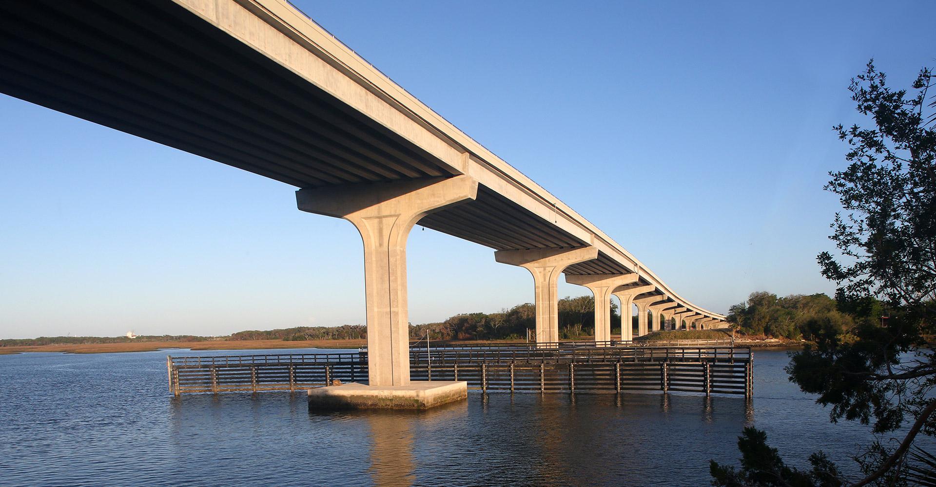 SR 105 Bridge Replacement from Below over water.