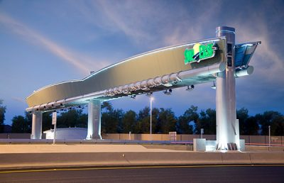 Sawgrass Expressway Sunrise Tollbooth closeup.