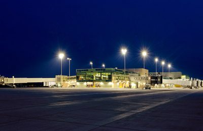 Springfield Branson National Airport Exterior at Night.