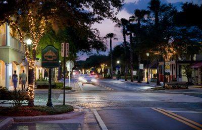 Streetscape Design Safety Harbor street at night.