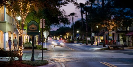Streetscape Design Safety Harbor street at night.