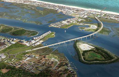 Aerial of Topsail Islando Bridge Replacement.