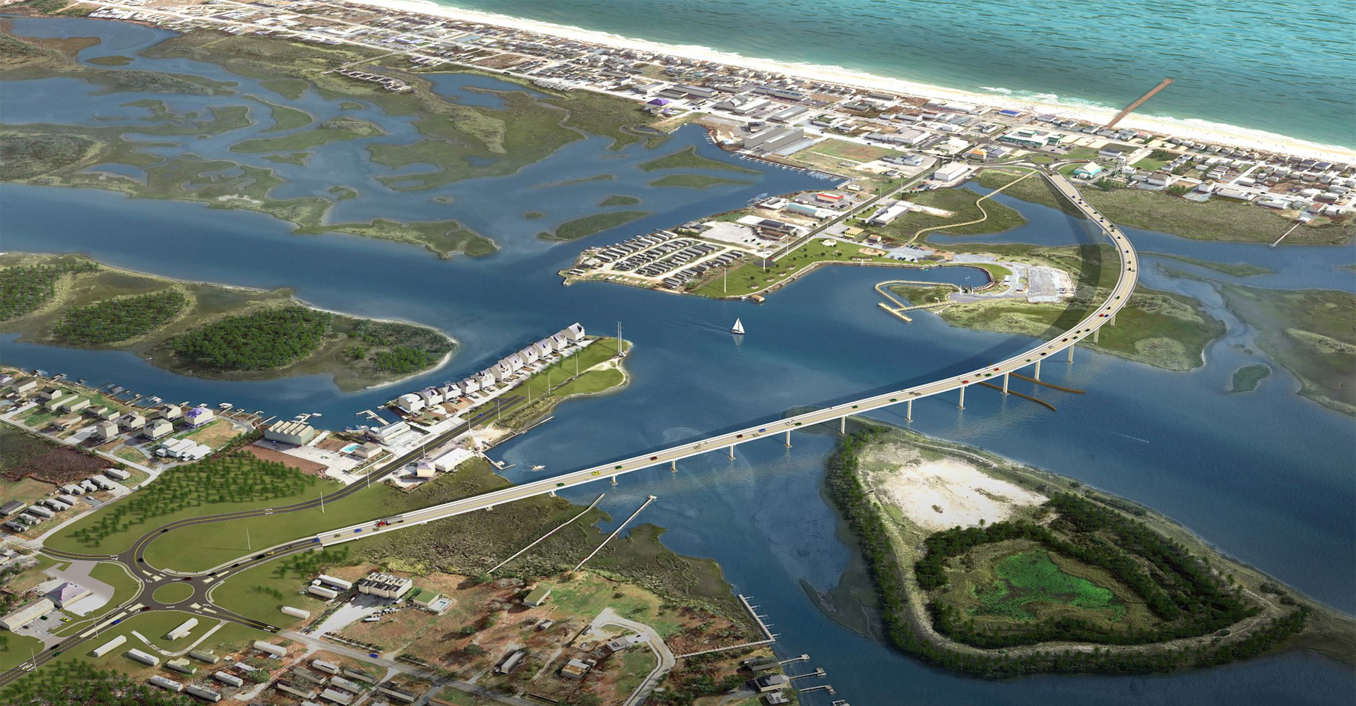 Aerial of Topsail Islando Bridge Replacement.