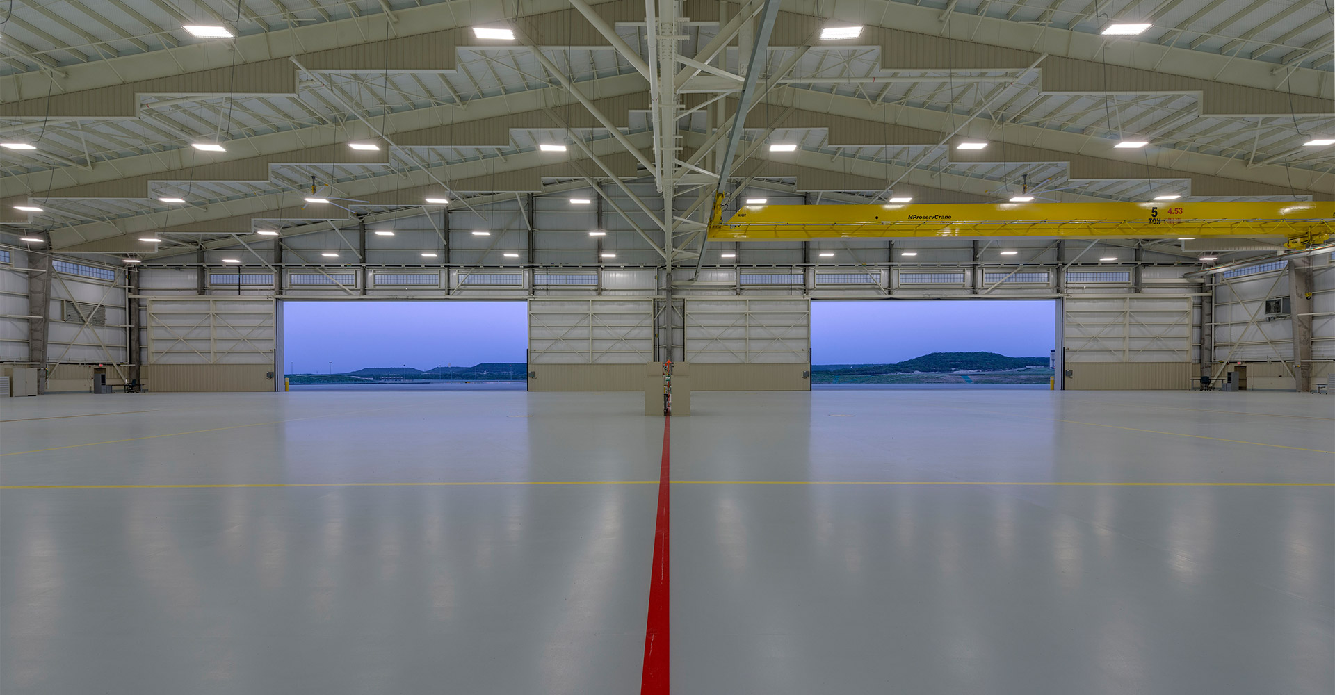 Unmanned aircraft hanger interior.