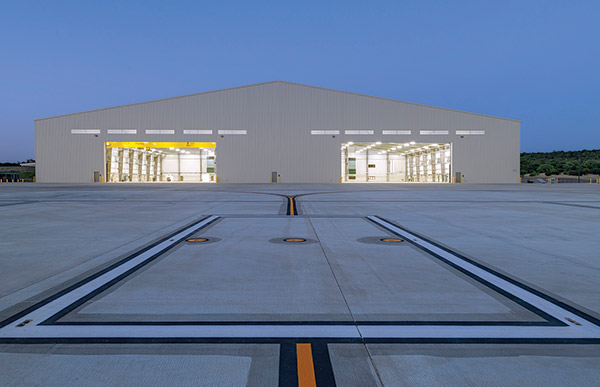 Unmanned aircraft hanger exterior.
