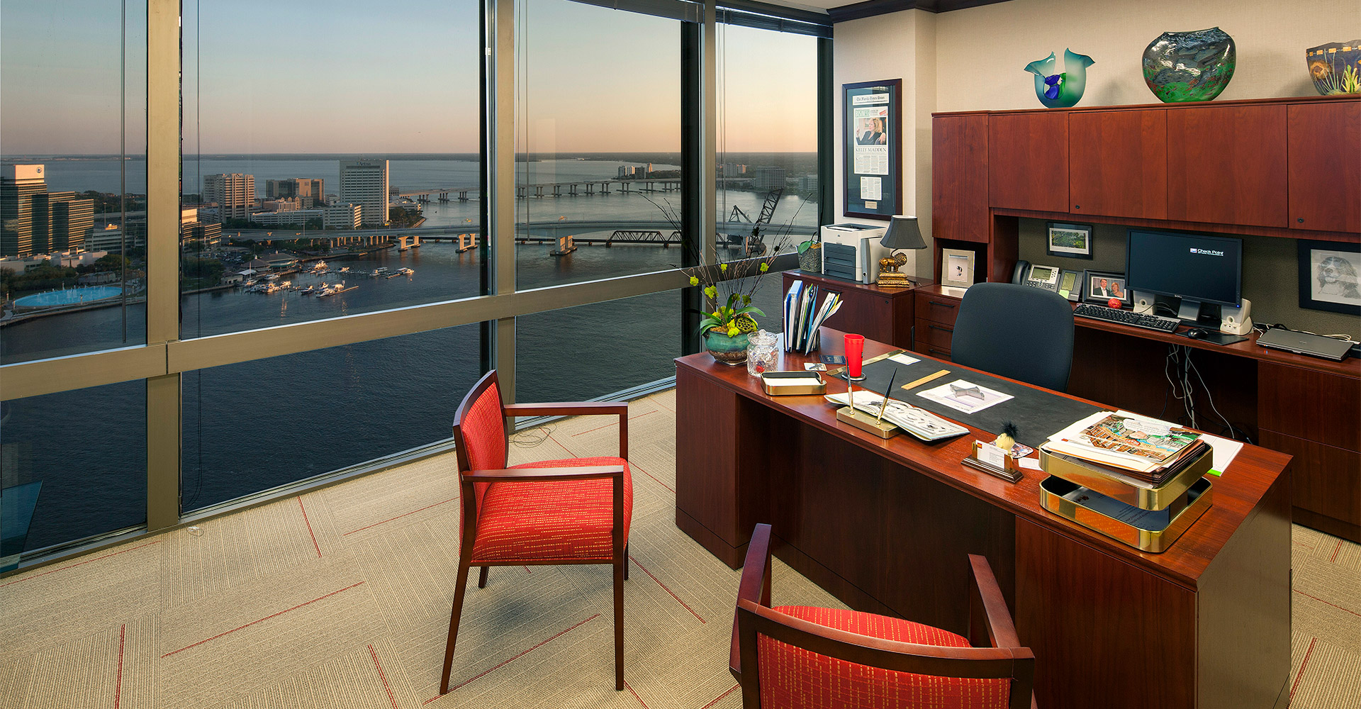 Executive office at Wells Fargo center with city view.