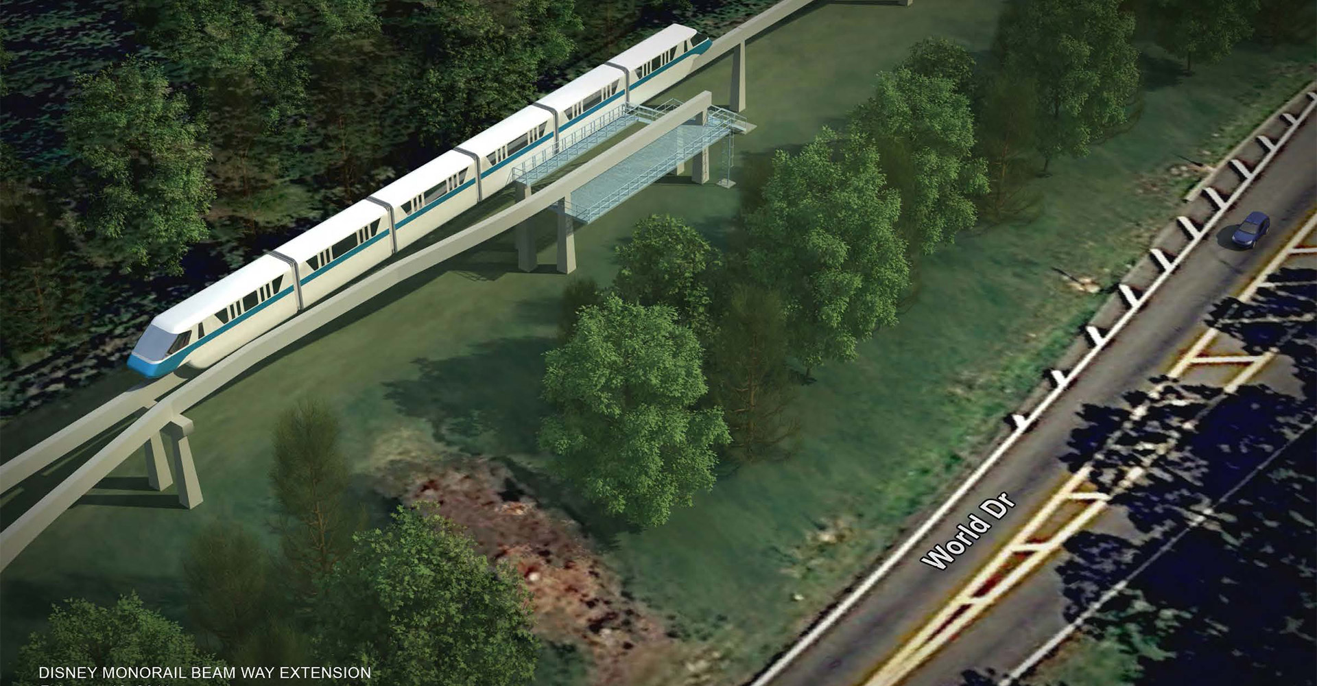 Aerial rendering of the Disney Monorail.