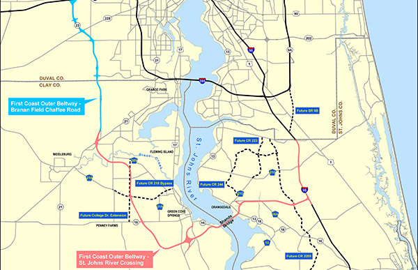 Map of the First Coast Outer Beltway project.