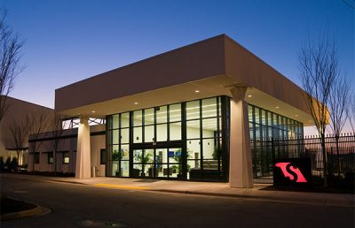 Exterior of Greenville GA Terminal at night.