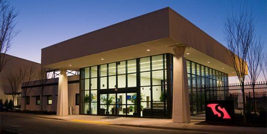 Exterior of Greenville GA Terminal at night.
