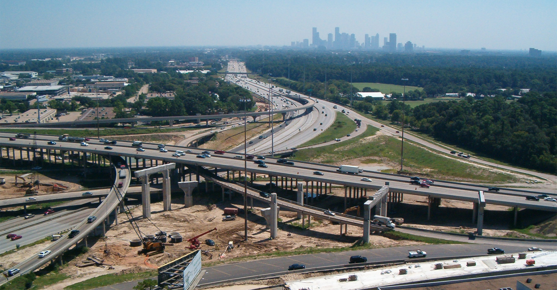 Aerial of I-10 - I-610 Interchange reconstruction.