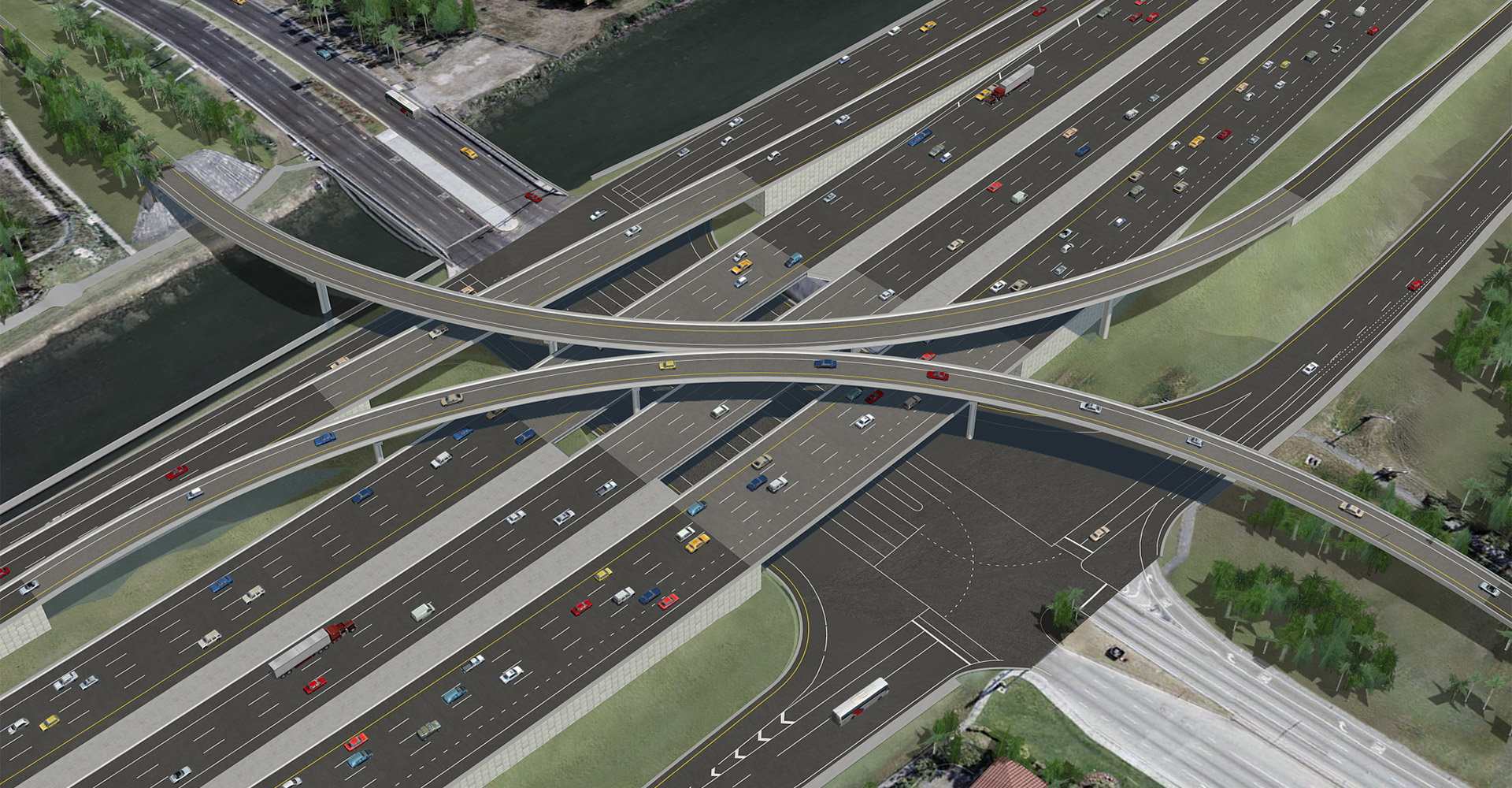 Rendering of I-595 corridor improvements.
