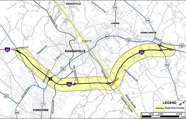 I-85 study area location map.