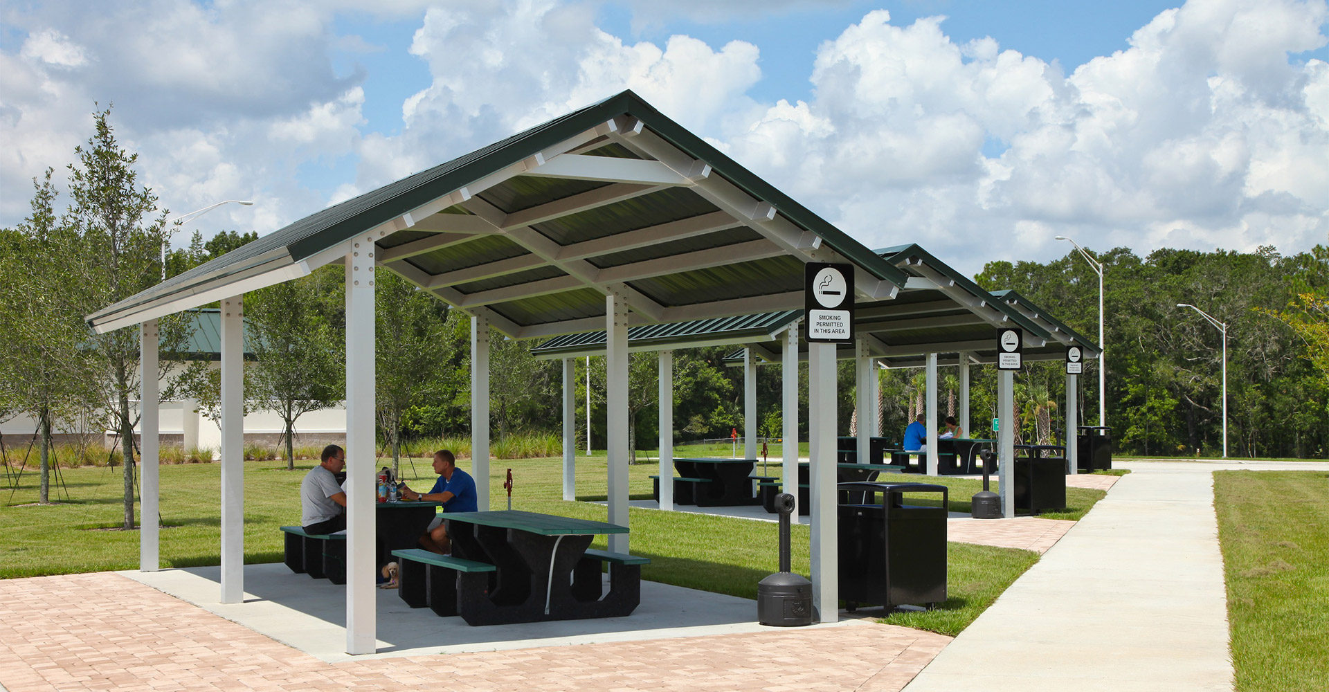Picnic tables at I-75 rest areas.