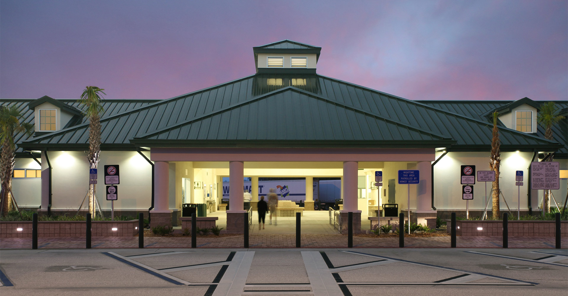 I-75 rest area at dusk.