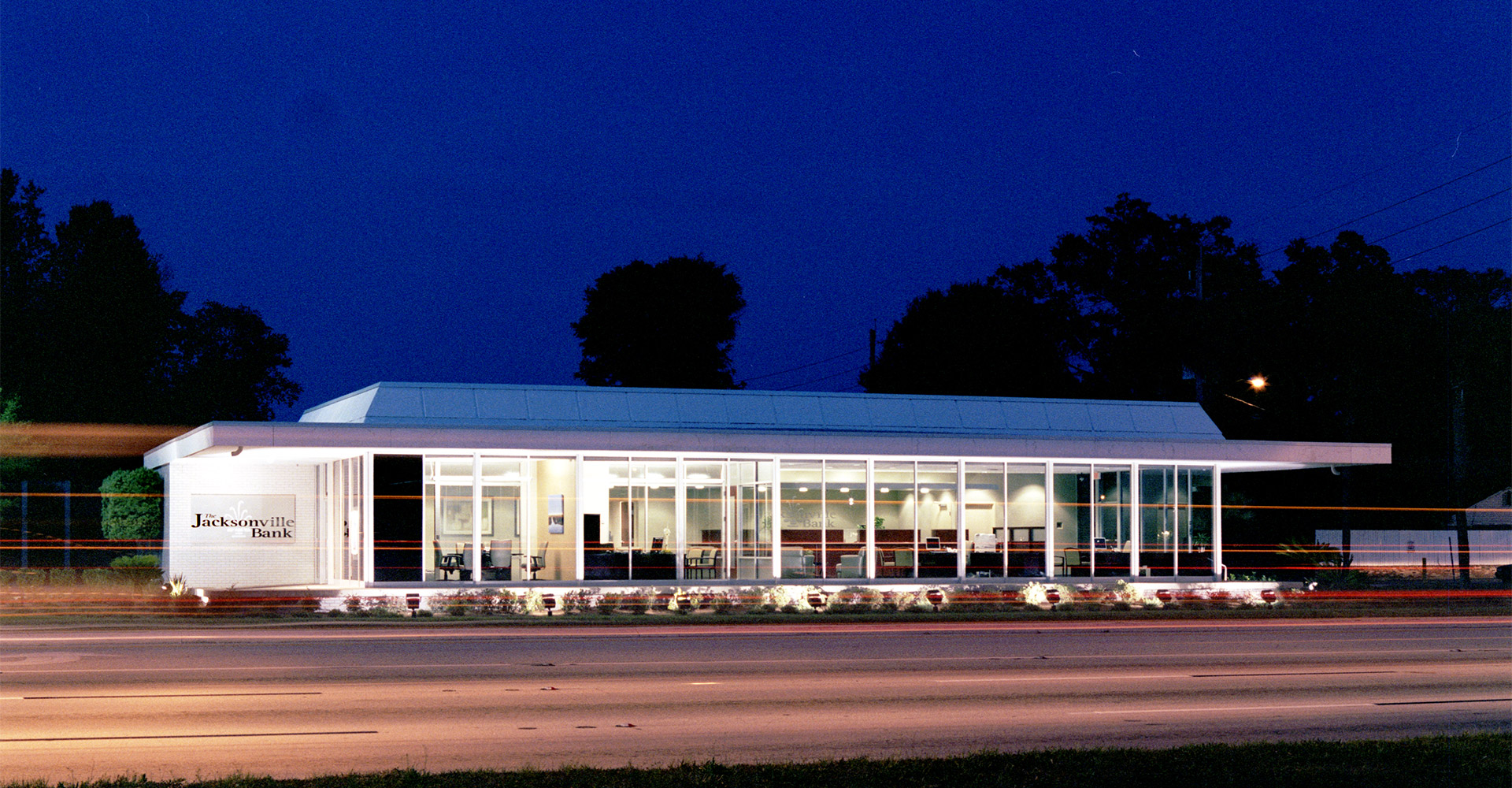 Exterior of Jacksonville Bank - Ortega at night.