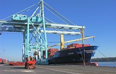 Cargo ship being loaded at Jaxport.